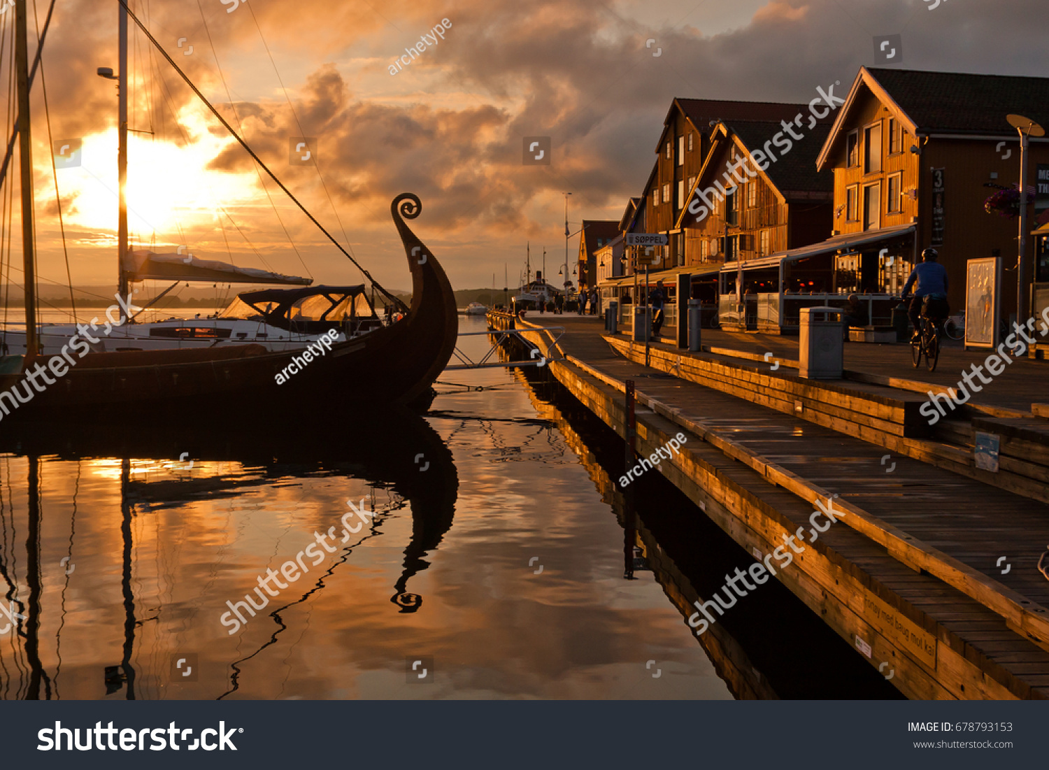 Powerpoint Template  Vikings Sunset With Viking Ship